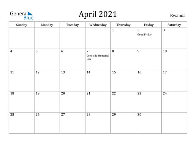 Image of April 2021 Rwanda Calendar with Holidays Calendar