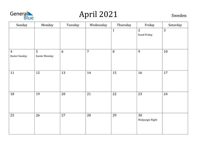 Image of April 2021 Sweden Calendar with Holidays Calendar