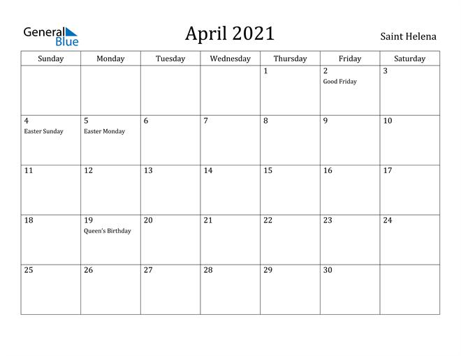 Image of April 2021 Saint Helena Calendar with Holidays Calendar