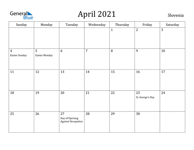 Image of April 2021 Slovenia Calendar with Holidays Calendar