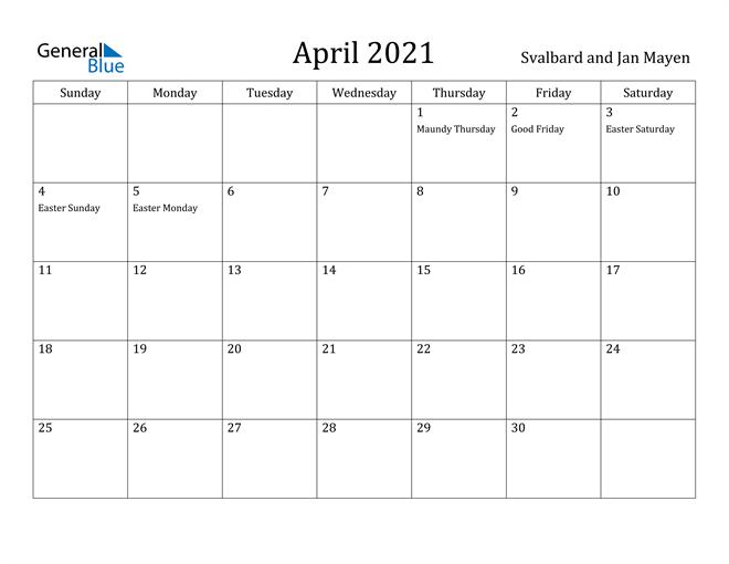 Image of April 2021 Svalbard and Jan Mayen Calendar with Holidays Calendar