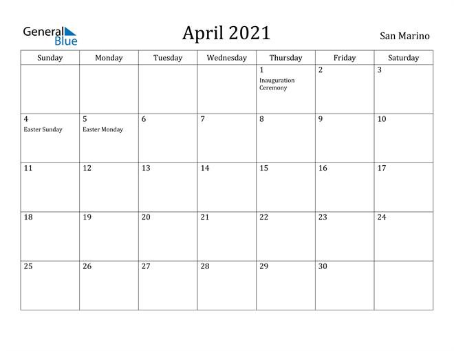 Image of April 2021 San Marino Calendar with Holidays Calendar