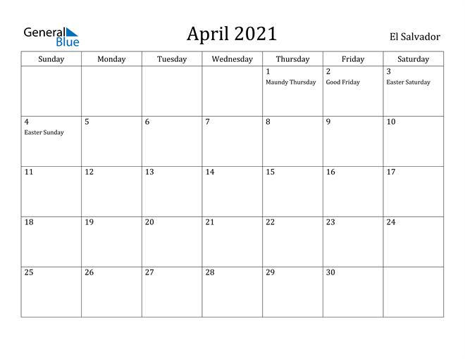 Image of April 2021 El Salvador Calendar with Holidays Calendar