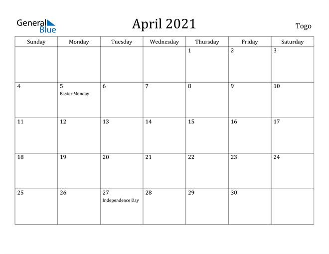 Image of April 2021 Togo Calendar with Holidays Calendar