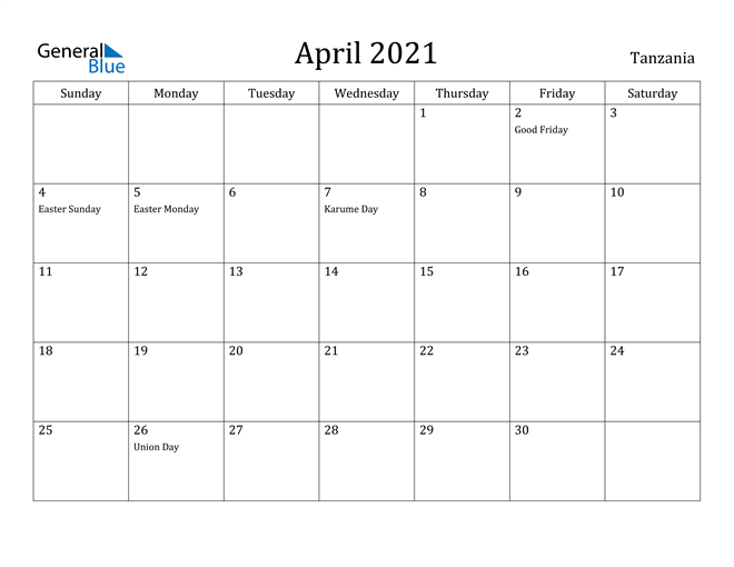 Image of April 2021 Tanzania Calendar with Holidays Calendar