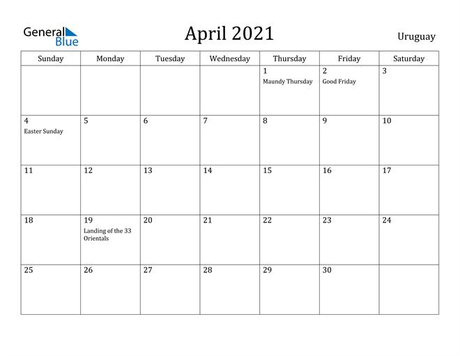 Image of April 2021 Uruguay Calendar with Holidays Calendar