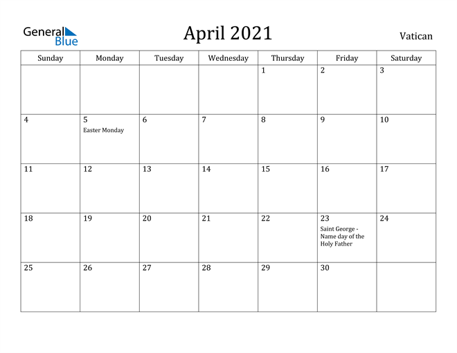 Image of April 2021 Vatican Calendar with Holidays Calendar