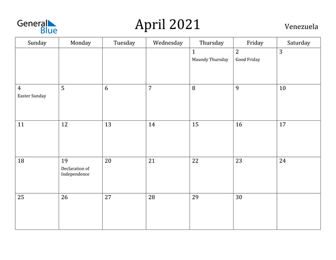 Image of April 2021 Venezuela Calendar with Holidays Calendar