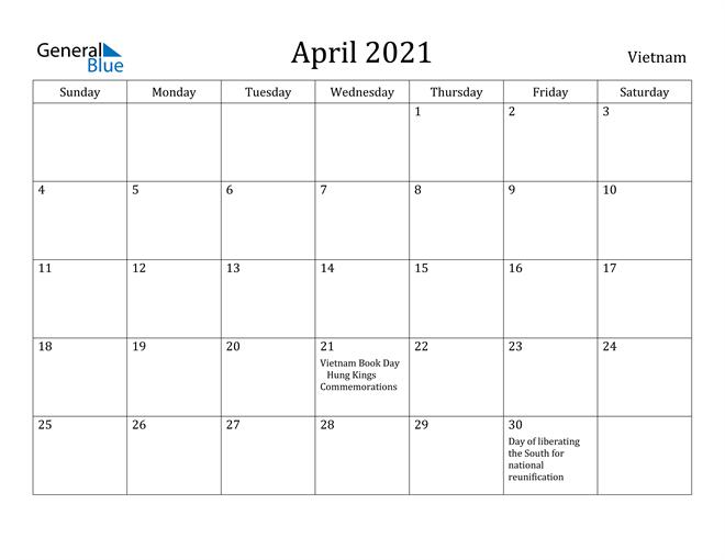 Image of April 2021 Vietnam Calendar with Holidays Calendar