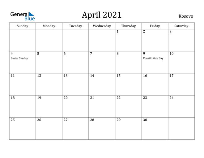 Image of April 2021 Kosovo Calendar with Holidays Calendar