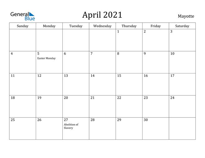 Image of April 2021 Mayotte Calendar with Holidays Calendar