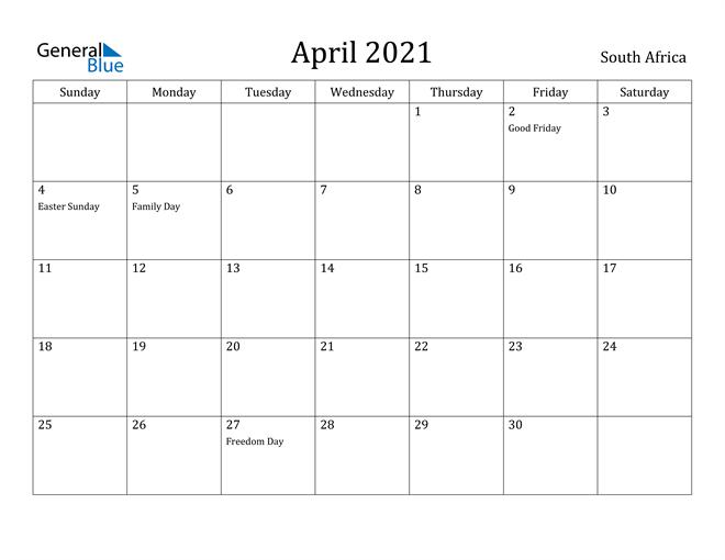 Image of April 2021 South Africa Calendar with Holidays Calendar
