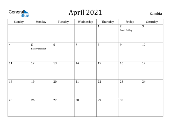 Image of April 2021 Zambia Calendar with Holidays Calendar