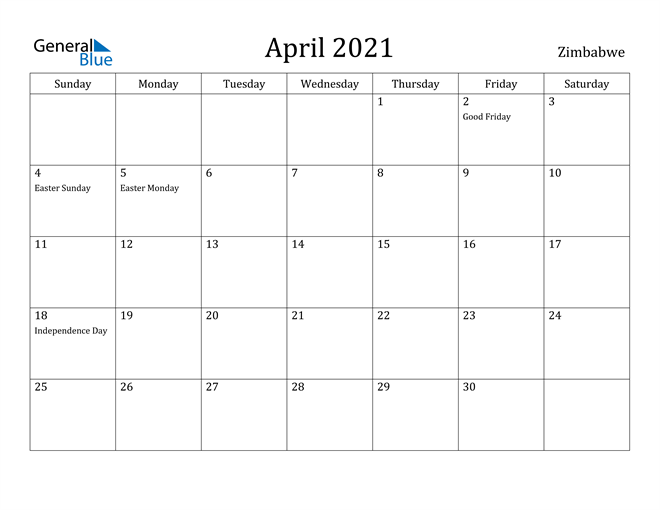 Image of April 2021 Zimbabwe Calendar with Holidays Calendar