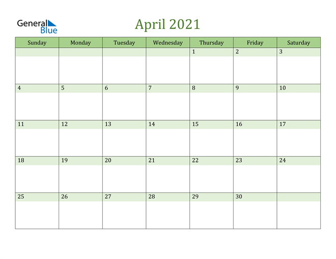 April 2021 Cool and Relaxing Green Calendar