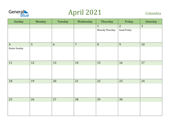 Image of April 2021 Cool and Relaxing Green Calendar Calendar