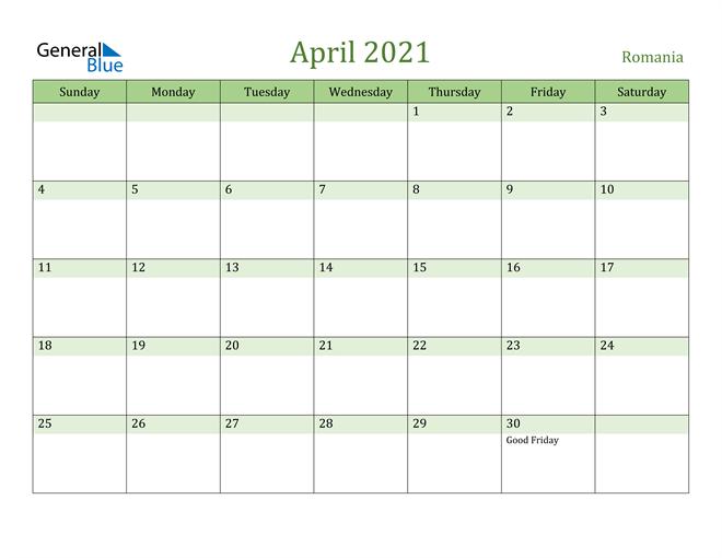 Image of April 2021 Cool and Relaxing Green Calendar Calendar