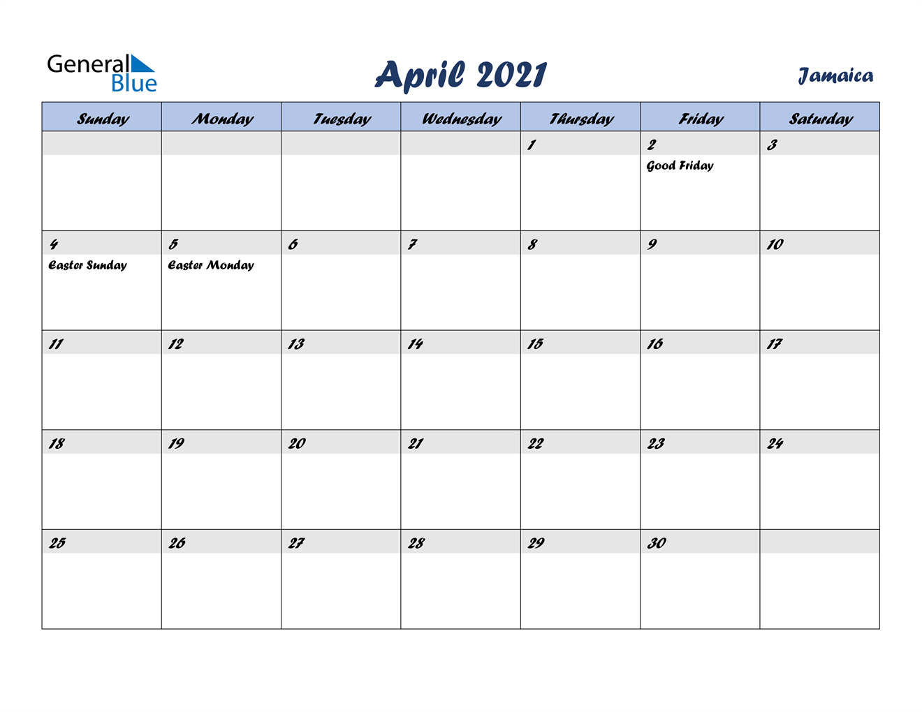 April 2021 Calendar Jamaica