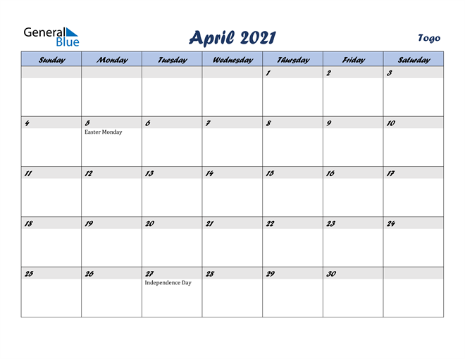 Image of April 2021 Italicized and Cool Blue, A Fun Calendar in PDF, Word and Excel Calendar