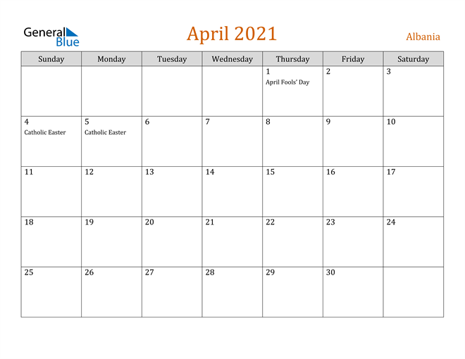 Image of April 2021 Contemporary Orange PDF, Word and Excel Calendar Calendar