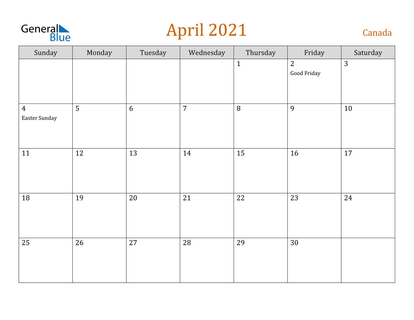 April 2021 Calendar - Canada