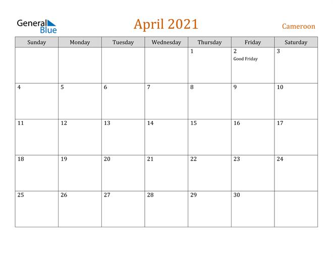 Image of April 2021 Contemporary Orange PDF, Word and Excel Calendar Calendar