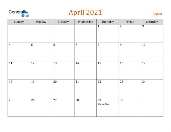 April 2021 Holiday Calendar