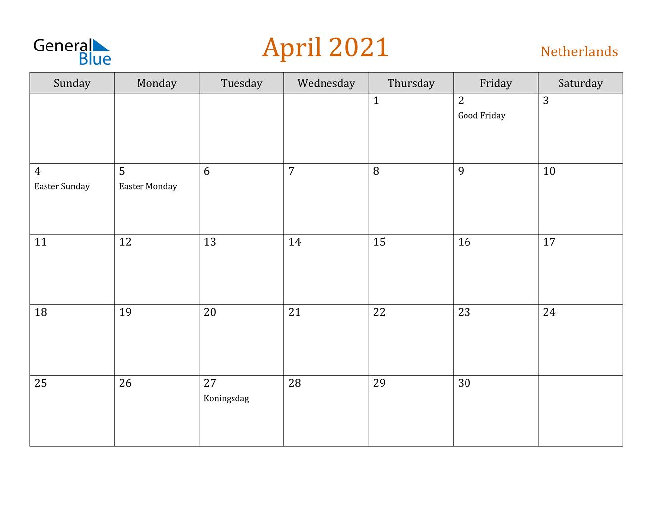 April 2021 Calendar - Netherlands