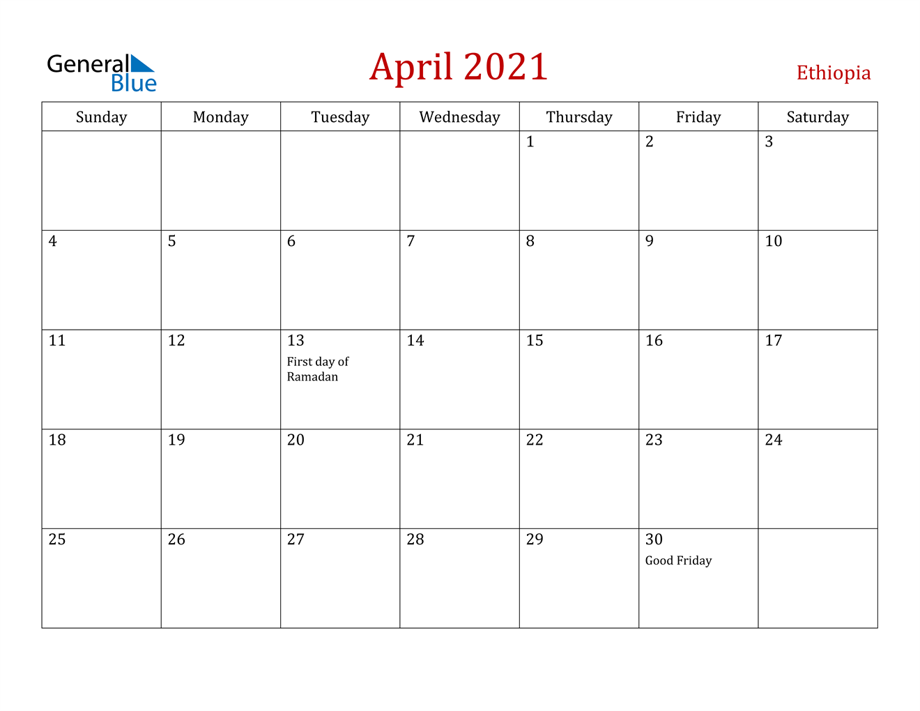April 2021 Calendar Ethiopia