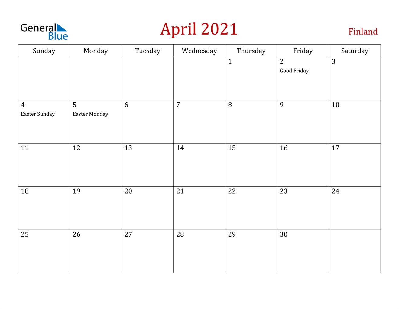 April 2021 Calendar - Finland