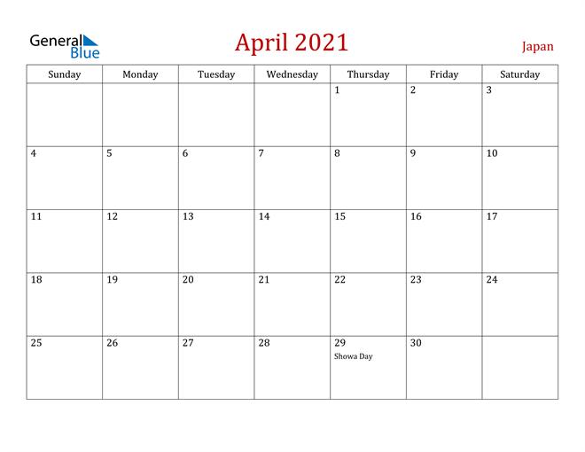 Japan April 2021 Calendar