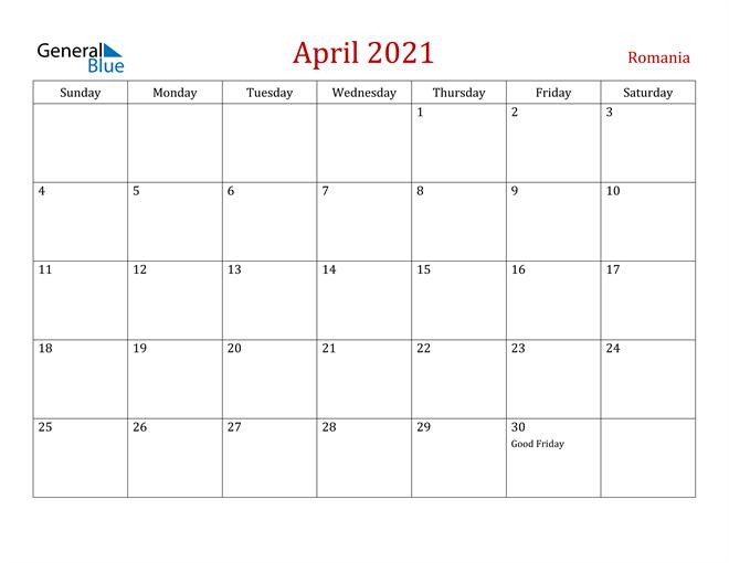 Image of April 2021 Dark and Red Professional Office Calendar Calendar