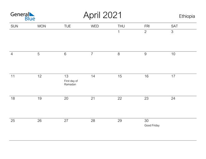 Printable April 2021 Calendar for Ethiopia