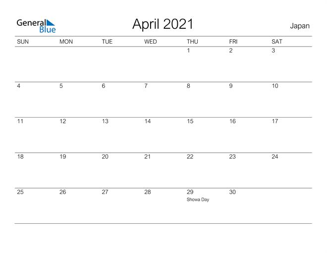 Printable April 2021 Calendar for Japan
