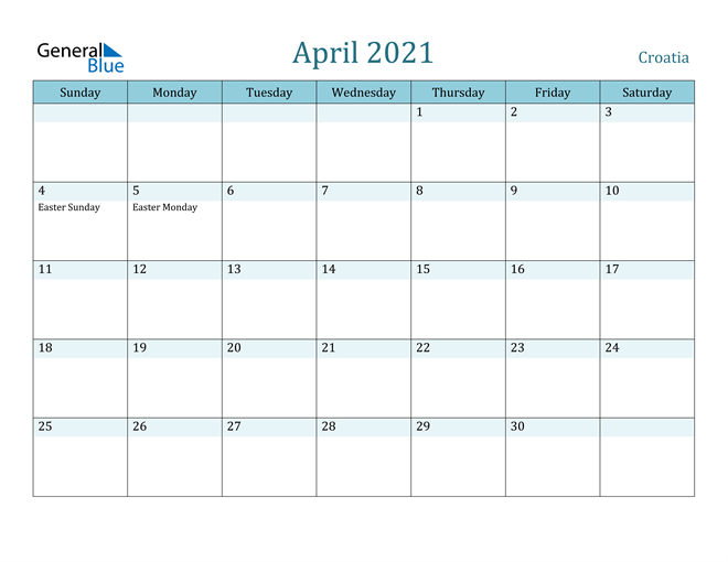 Image of April 2021 Colorful Turquoise Calendar in PDF, Word and Excel Calendar