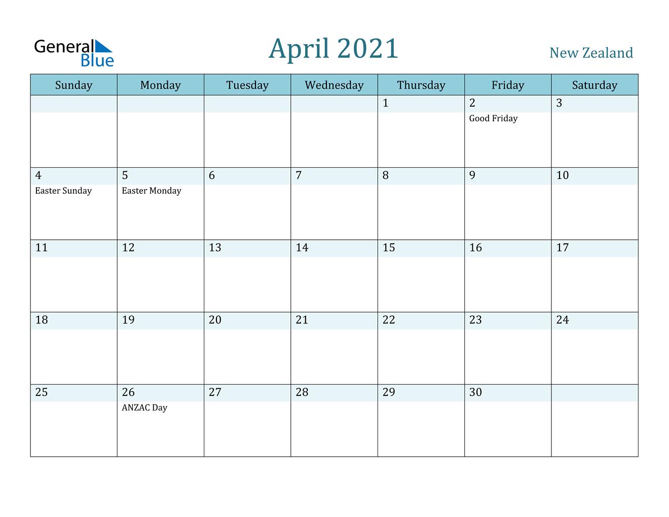 April 2021 Calendar - New Zealand