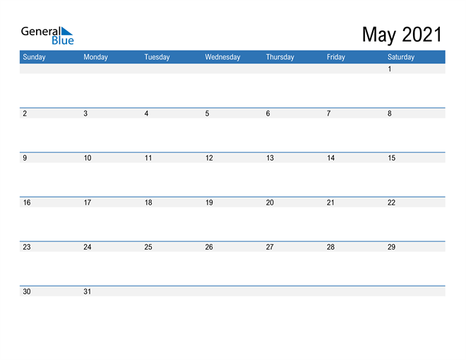 Fillable Calendar for May 2021