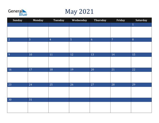 May 2021 Stylish Dark Blue Calendar in PDF, Word and Excel