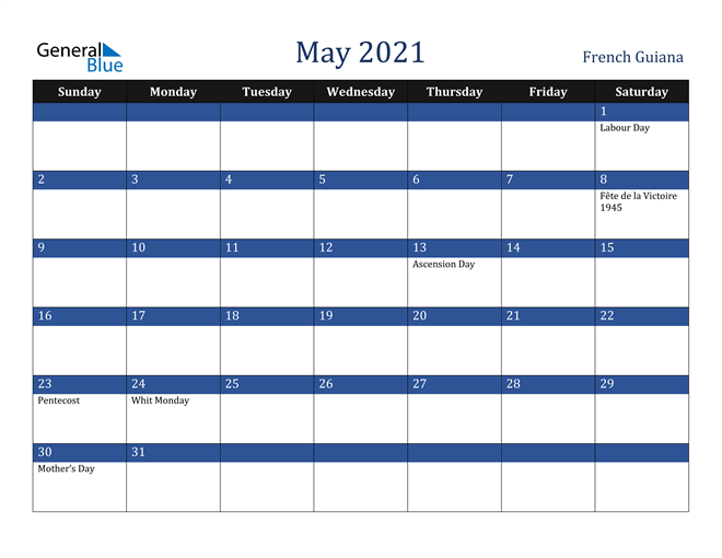 Image of May 2021 Stylish Dark Blue Calendar in PDF, Word and Excel Calendar