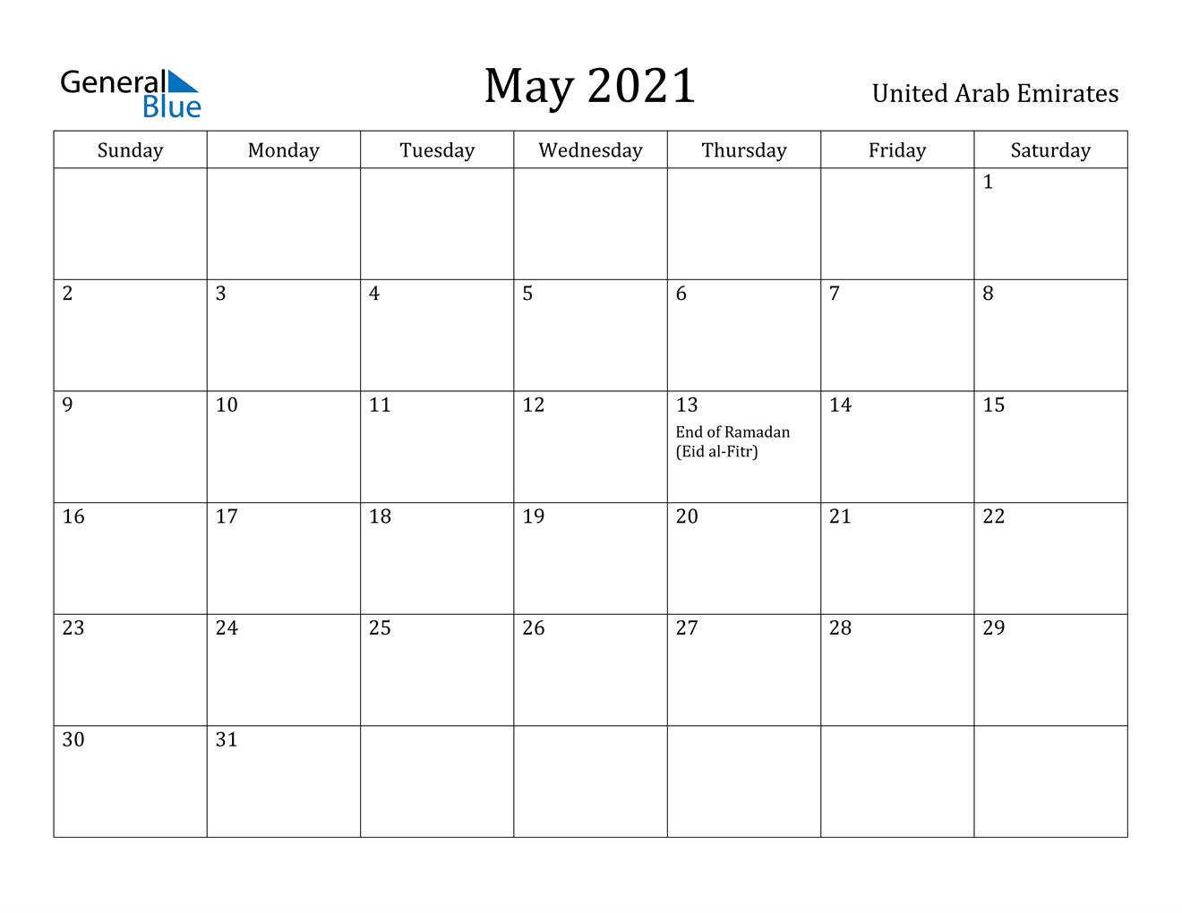 Ramadan 2021 Us Calendar May 2021 Calendar   United Arab Emirates