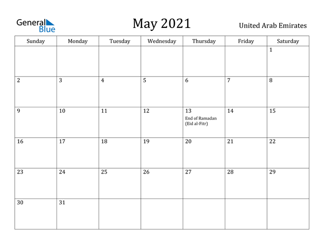 Image of May 2021 United Arab Emirates Calendar with Holidays Calendar