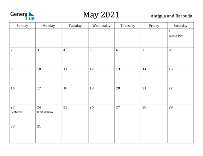 Image of May 2021 Antigua and Barbuda Calendar with Holidays Calendar