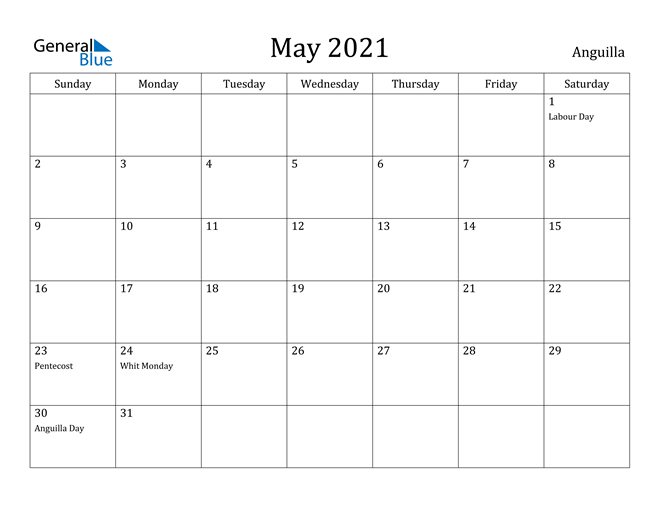 Image of May 2021 Anguilla Calendar with Holidays Calendar