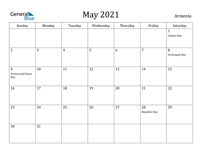 Image of May 2021 Armenia Calendar with Holidays Calendar