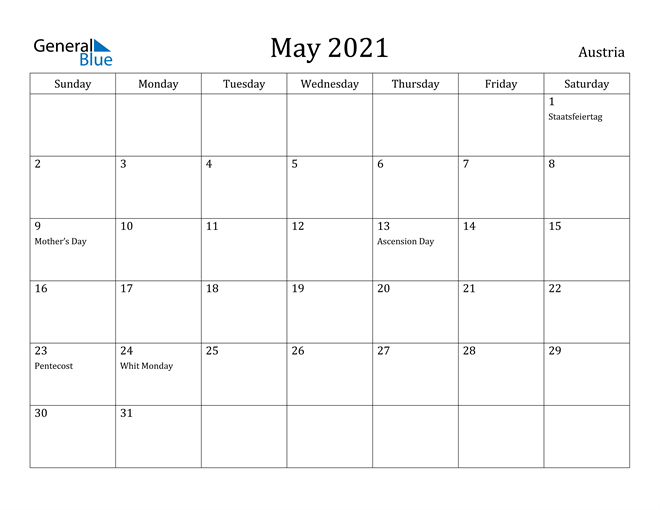 Image of May 2021 Austria Calendar with Holidays Calendar
