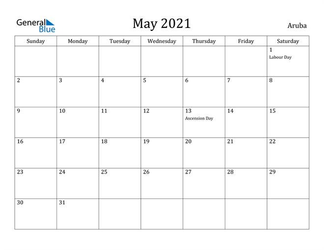 Image of May 2021 Aruba Calendar with Holidays Calendar