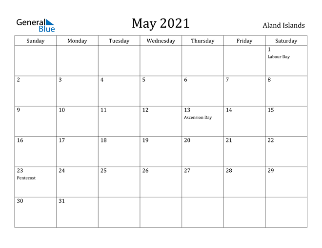Image of May 2021 Aland Islands Calendar with Holidays Calendar