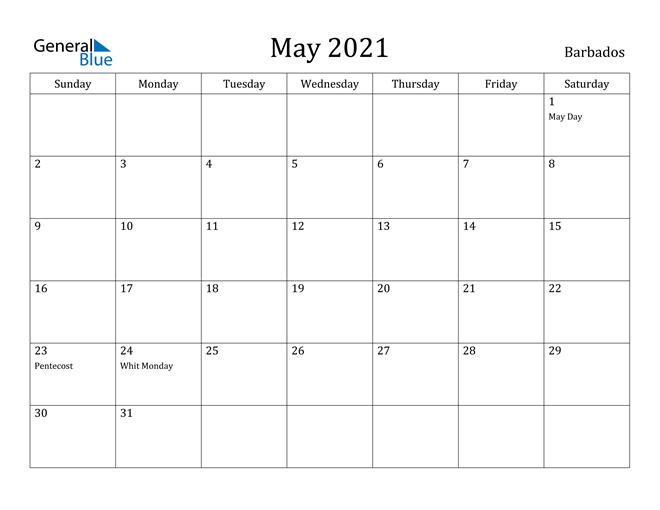 Image of May 2021 Barbados Calendar with Holidays Calendar