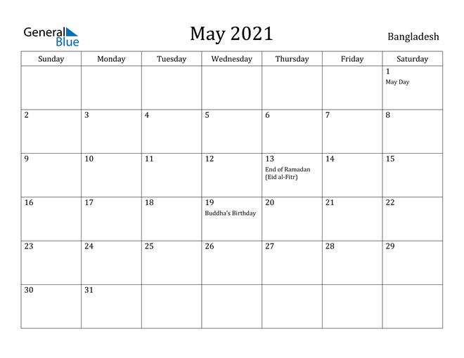 Image of May 2021 Bangladesh Calendar with Holidays Calendar
