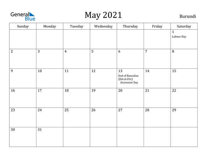 Image of May 2021 Burundi Calendar with Holidays Calendar